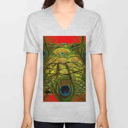 RED-GREEN PEACOCK FEATHERS ART Unisex V-Neck