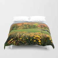 vermont Duvet Covers featuring Vermont Foliage Watercolor by Vermont Greetings
