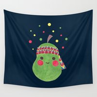polkadot Wall Tapestries featuring Hippie Pear by haidishabrina