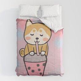 Boba with shiba Comforters
