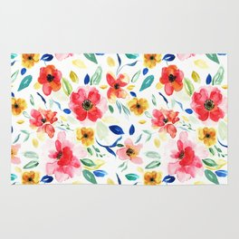 Bright Playful Watercolour Floral Pattern Rug