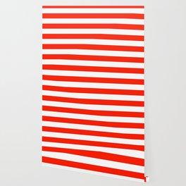 Fiesta Red and White Wide Horizontal Cabana Tent Stripe Wallpaper