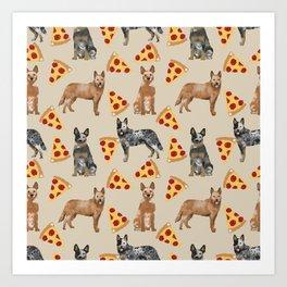 Australian Cattle Dog pizza slice pet friendly dog breed dog pattern art Art Print