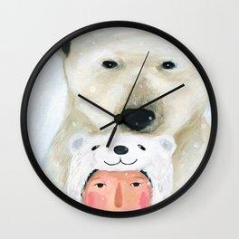 Sad polar bear Wall Clock