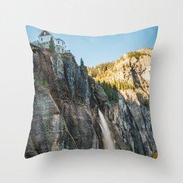 Bridal Veil Falls Telluride Colorado Autumn Waterfall Landscape Throw Pillow