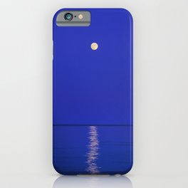 Moonrise at the sea. Blue hour.  iPhone Case