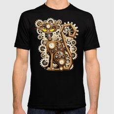 Steampunk Cat Vintage Style MEDIUM Black Mens Fitted Tee