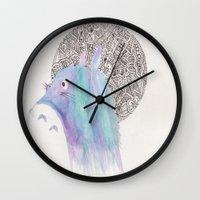studio ghibli Wall Clocks featuring studio ghibli zentangle by Clara Lucie P