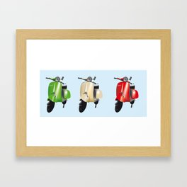 Three Vespa scooters in the colors of the Italian flag Framed Art Print