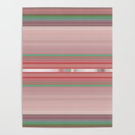 Aztec Blush Coral Aqua Stripe Pattern Poster