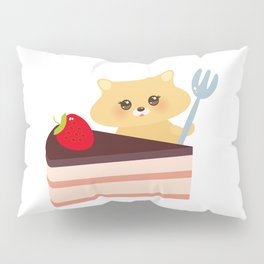 cute kawaii hamster with fork, Sweet cake decorated with fresh Strawberry, pink cream and chocolate Pillow Sham