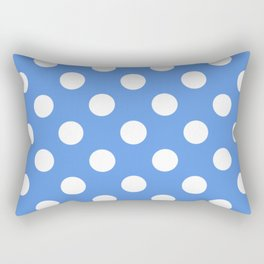 United Nations blue - turquoise - White Polka Dots - Pois Pattern Rectangular Pillow
