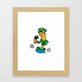 Broom cartoon Framed Art Print