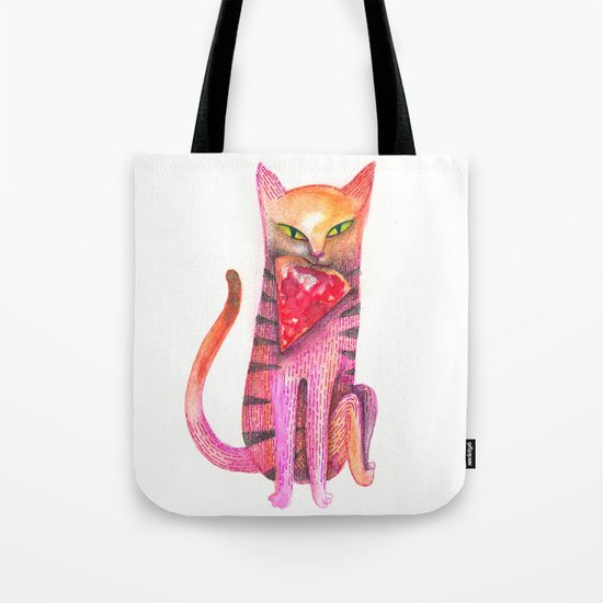 pet cat with precious prey Tote Bag