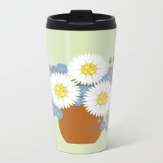Vase of Daisies and Forget me not Metal Travel Mug