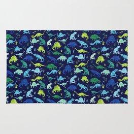 Watercolor Dinosaur Blue Green Dino Pattern Rug