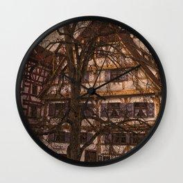 old half-timbered house with restaurant ( Ulm - Fischerviertel ) Wall Clock