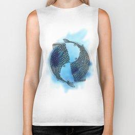 Pisces - Fish Koi - Japanese Tattoo Style (blue color) Biker Tank