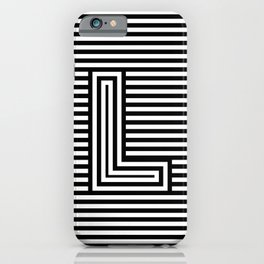 Track - Letter L - Black and White iPhone Case