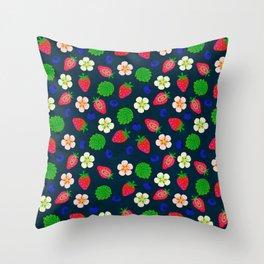 Strawberry magic - navy Throw Pillow