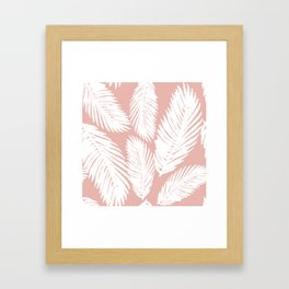 White Tropical Palm Tree Fern Leaf on Rose Gold Pattern Framed Art Print