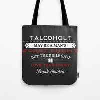 frank sinatra Tote Bags featuring Frank Sinatra by Tanner Wheat
