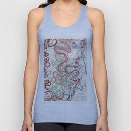 Vintage Map of the Mississippi River Unisex Tank Top