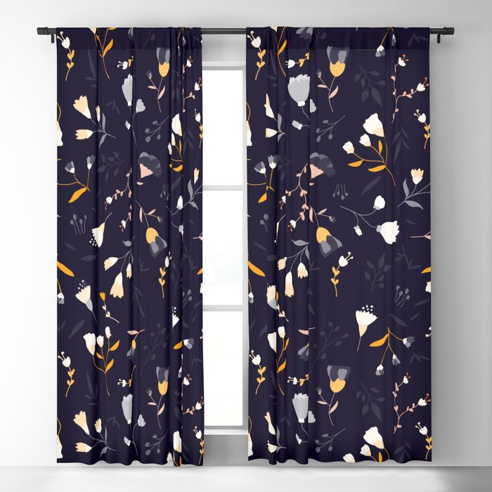 Small flowers on dark background Blackout Curtain