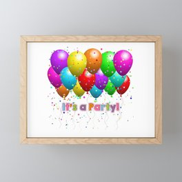 It's A Party Colorful Balloons Framed Mini Art Print