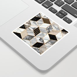 Marble Cubes 2 - Black and White Sticker