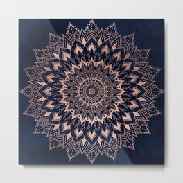 Boho rose gold floral mandala on navy blue watercolor Metal Print