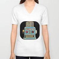 robot V-neck T-shirts featuring Robot by Silvio Ledbetter