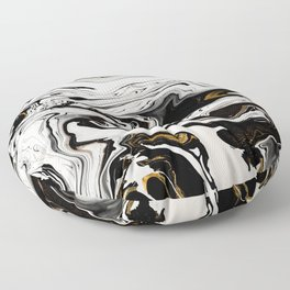 Black and Gold Liquid Paint Swirl Marble Pattern Floor Pillow