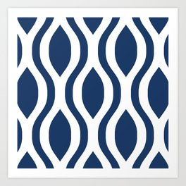 Pretty Ogee Pattern 434 Navy Blue Art Print