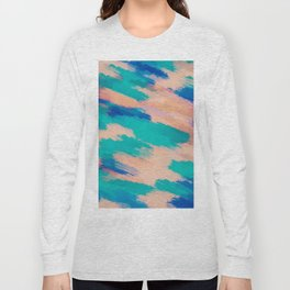 camouflage splash painting abstract in pink green and blue Long Sleeve T-shirt