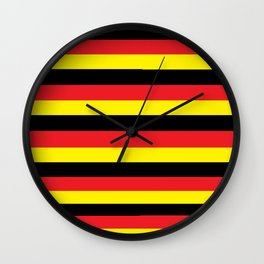 Black,red and yellow  stripes Wall Clock