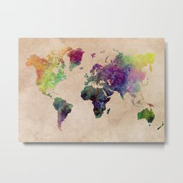Watercolor world Map Metal Print