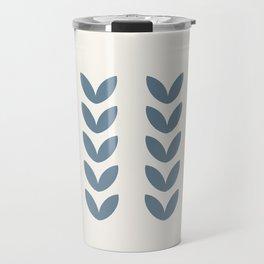 Leaf Pattern Pastel Blue - Scandinavian Travel Mug