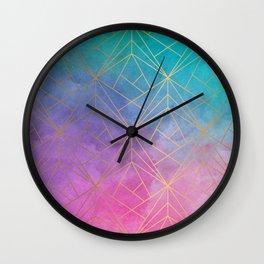 Watercolor Geometric Gold Pattern Art Wall Clock