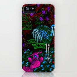 Asian Bamboo Garden in Black Velvet Watercolor iPhone Case