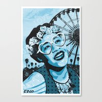fitzgerald Canvas Prints featuring Coachella Fitzgerald by EZCO