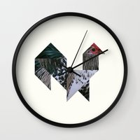 rooster Wall Clocks featuring ROOSTER by TANGRAMMAR