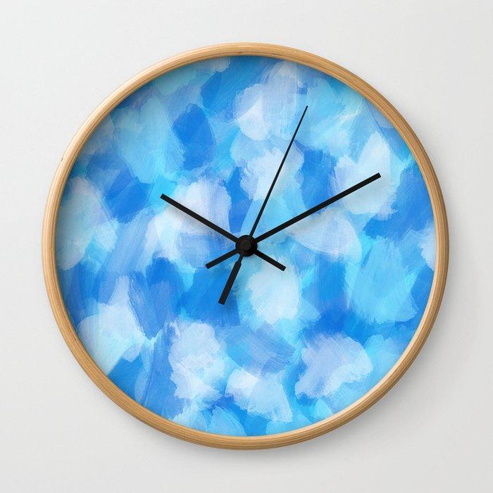 Artsy Modern Ocean Blue Abstract Paint Pattern Wall Clock