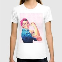 sayings T-shirts featuring Fight Like A Girl Rosie The Riveter Girly Mod Pink by Girly Road