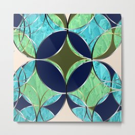 Mozart. Composition in blue and Green. Graphic Design. Hybrydus Metal Print