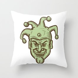 Demented Medieval Court Jester Drawing Throw Pillow