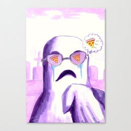 horror pizza ghost Canvas Print