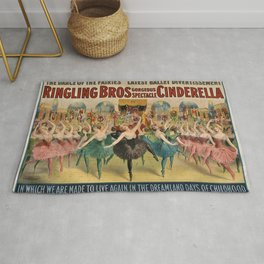 1896 Ringling Brothers Big Top Circus 'Dance of the Fairies' Vintage Poster Rug