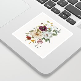 Colorful Wildflower Bouquet on White Sticker