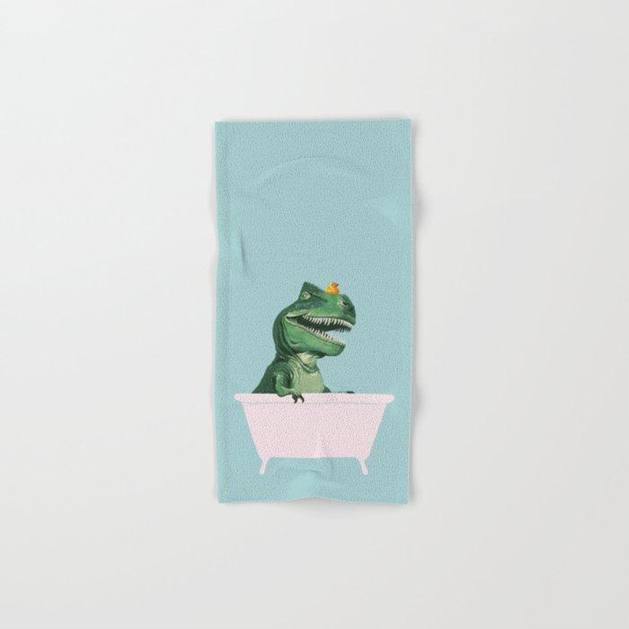 Playful T-Rex in Bathtub in Green Hand & Bath Towel
